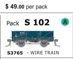 S Wagon SDS Models -Pk S 102 ( S3765 ) WAGON with DISC WHEELS, NO BUFFERS,  WIRE TRAIN TRAFFIC Single PACK.