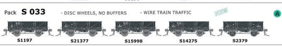 AUSTRAINS NEO - S Wagon: -Pk S 033 with DISC WHEELS, NO BUFFERS, WIRE TRAIN TRAFFIC 5 PACK.