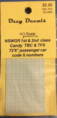 OZZY PASSENGER CAR DECAL : TBC 1st class code & No's with 9 FIRST & TFX 2nd class code & No's with 9 SECOND passenger cars CANDY WHITE HO
