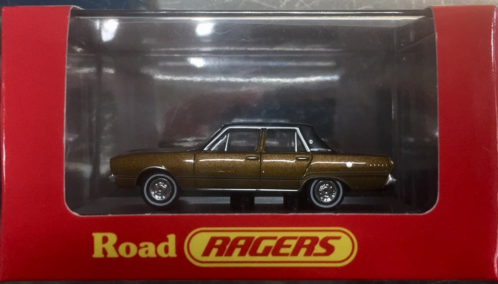 Road Ragers: 1969 VG  Valiant Regal: Citron Gold / Black Vinyl Roof. HO Car. diecast. R040