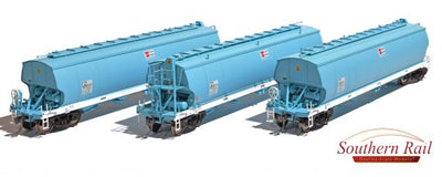 WGB09 Southern Rail DISCOUNT: WGNY  AWB - GRAIN HOPPER FADED DK BLUE AS BUILT c. 2009 - CURRENT, 3 PACK SET,