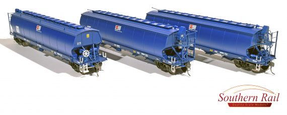 WGS02 Southern Rail DISCOUNT: WGSY AWB VIC & SA BROAD GAUGE GRAIN HOPPER DARK BLUE AS BUILT c. 2010 to CURRENT | 3 PACK,