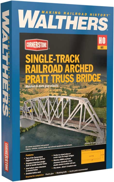 "Walthers: Single-Track Railroad Arched Pratt Truss Bridge -- Kit -Arched Pratt Truss Railroad Bridge -- Single-Track - Kit - 23 x 3-1/16 x 5-1/4"" 58.4 x 7.8 x 13.3cm 933-4521"