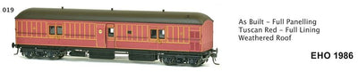 EHO SDS Models: EHO 1986 As Built - Full Panelling Tuscan Red - Full Lining Weathered Roof