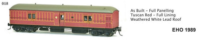 EHO SDS Models: EHO 1989 As Built Full Paneling Tuscan Red - Full Lining Weathered White Lead Roof. #018 **