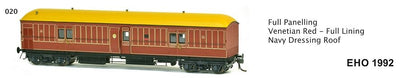 EHO SDS Models: EHO 1992 Full Panelling Venetian Red - Full Lining Navy Dressing Roof
