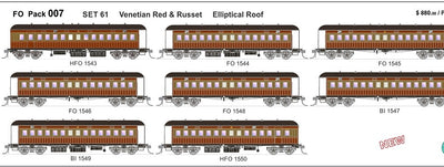 FO 007 AUSTRAINS NEO : End Platform Car Set 61 Pack of 8 cars Low Elliptical Roof - Venetian red & Russet