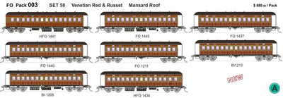 FO 003 AUSTRAINS NEO : Set 58 Pack of 8 cars in red & russet with mansard roof