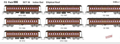 FO 006 AUSTRAINS NEO : End Platform Car Set 36 Pack of 8 cars Low Elliptical Roof - Indian Red