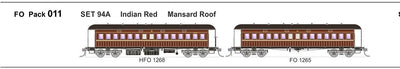 FO 011 AUSTRAINS NEO : End Platform Car Set 94A Pack of 2 cars with Mansard Roof - Indian Red