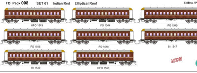 FO 008 AUSTRAINS NEO : End Platform Car Set 61 Pack of 8 cars DIR Low Elliptical Roof - Indian Red