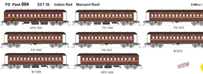 FO 004 AUSTRAINS NEO : End Platform Car Set 58 Pack of 8 cars in Indian Red.
