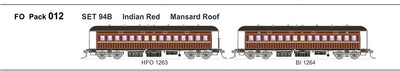 FO 012 AUSTRAINS NEO : End Platform Car Set 94B Pack of 2 cars with Mansard Roof - Indian Red