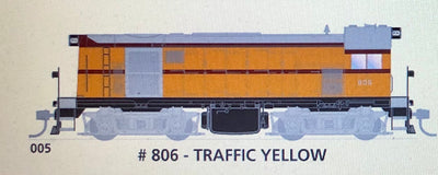 800 class DC Powered - #005 Loco No 806 in TRAFFIC YELLOW - SOUTH AUSTRALIAN RAILWAYS:  SDS Models NOW AVAILABLE: Non Sound
