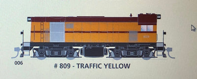 800 class DC Powered - #006 Loco No 809 in TRAFFIC YELLOW - SOUTH AUSTRALIAN RAILWAYS:  SDS Models NOW AVAILABLE: Non Sound