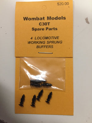 Parts: Wombat models C30T: 4  LOCOMOTIVE WORKING SPRUNG BUFFERS.