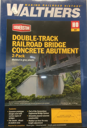 Walthers: Double-Track Railroad Bridge CONCRETE ABUTMENT 2-PACK #933-4553