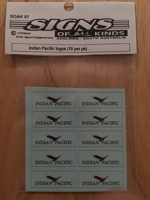 SK 087 DECAL for the INDIAN PACIFIC with bird LOGOS (10) HO