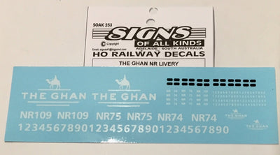 SK253 DECAL 'NEW' THE GHAN NR Class locomotive  Livery HO