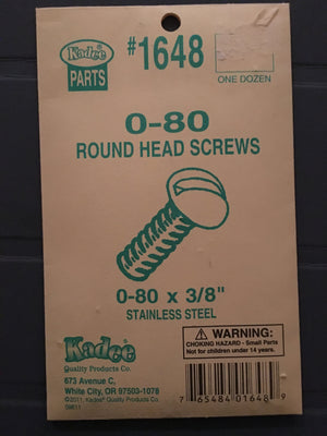 #1648 Screws Stainless Steel 0-80 x 3/8in