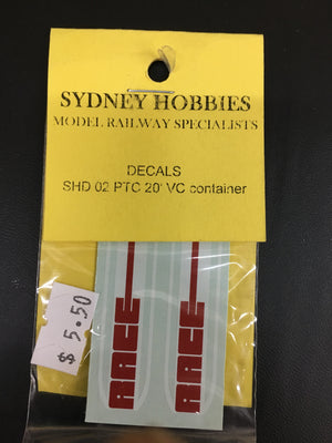 SHD02 RACE container DECAL for 20ft VC container (1) #SHD02 SYDNEY HOBBIES