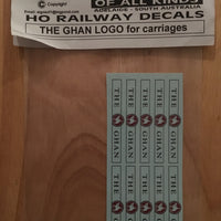 "SK204: Decal ""The Ghan"" Logo for HO Carriages"
