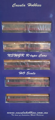 "Casula Hobbies: NSWGR ""R Type"" 7 Car, Set 108, 1948/58 Tuscan Red & Russet ""Caves Express"" LOW IN STOCK."