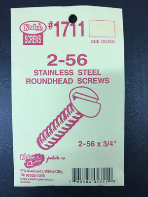 #1711 (2-56 x 3/4) Stainless Steel Roundhead Screws