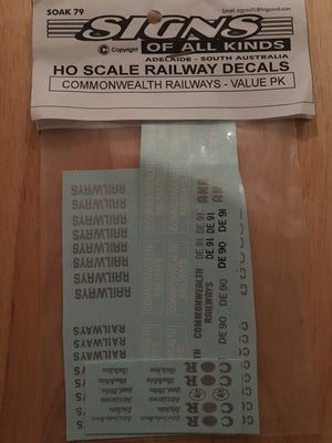 "SK 79: Decal HO Scale: ""Commonwealth Railways"" ""CR"" Logo,s - Value Pk."