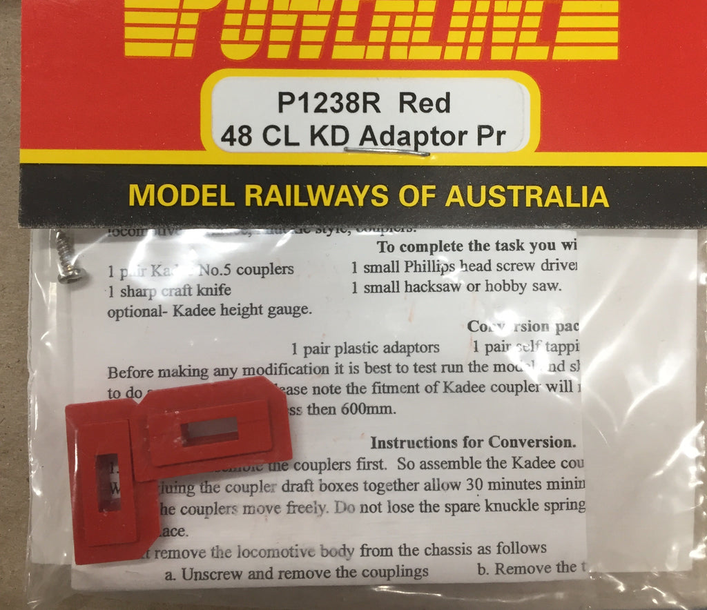 P1238R POWERLINE Parts 48 Class loco kadee adaptors in RED 1 pair.