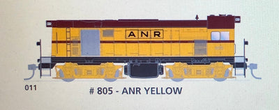 800 class DC Powered - #011 Loco No 805 in ANR Yellow - SOUTH AUSTRALIAN RAILWAYS:  SDS Models NOW AVAILABLE Non Sound