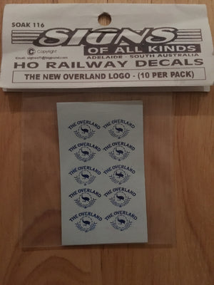 SK116 THE NEW OVERLAND PASSENGER CAR LOGO 10 PER PK. HO DECAL HO