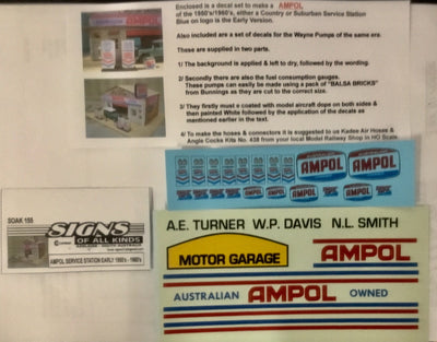 SK155 DECAL for HO AMPOL Service Station Early 1950's - 1960's  GARAGE SIGNS