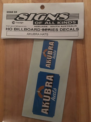 "84 BILLBOARD SIGHS SK 84 ""AKUBRA HATS"" DECAL HO"