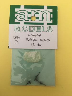 "AM Models : BFH01 13"" NSWGR Buffer Head Turned Brass (4)"