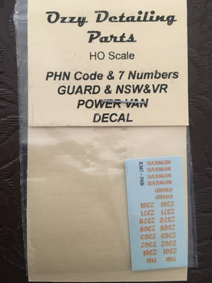OZZY PASSENGER CAR DECAL : PHN Ozzy Decals: PHN Code & 7 Numbers: Guard & NSW VR Power Van