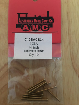 10BA COUNTERSUNK 3/4 inch BRASS SCREWS Qty 10