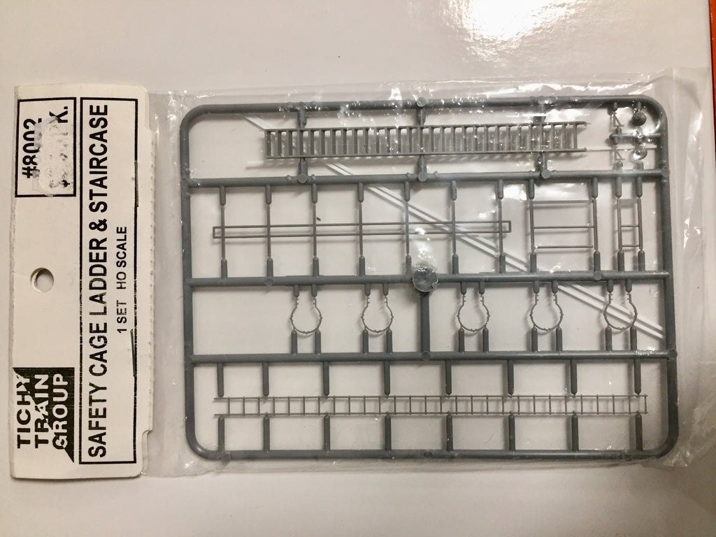 SAFETY CAGE LADDER & STAIRCASE  #8002 - 1 set HO -  TICHY TRAIN GROUP