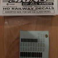 SK 68 DECAL for Assorted Nos for SAR 930 class diesels Locomotives