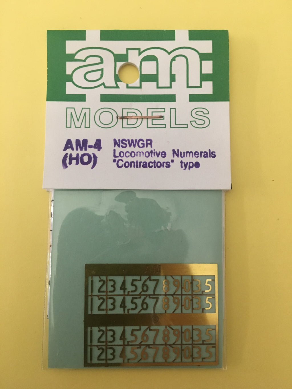 "AM Models : AM-4 NSWGR Standard Loco Numeral-""Contractors"" type - Etch Brass"