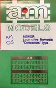 "AM Models : AM-5 Standard Loco Numeral-""Contractors"" type (silver) NSWGR Etched N/Sliver"