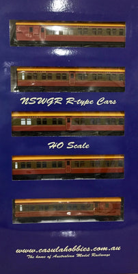 "R Type Casula Hobbies: NSWGR ""R Type"" '5 Car', Set 108, Tuscan & Russet set, ready to run."