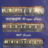 "Casula Hobbies: NSWGR ""R Type"" cars, 7 Cars, Set 108 Blue & Cream ""Caves Express""."
