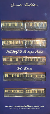 "Casula Hobbies: NSWGR ""R Type"" cars, 7 Cars, Set 108 Blue & Cream ""Caves Express"" VERY LOW STOCK LEFT.."