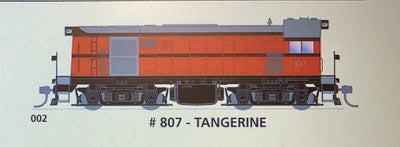 800 class DC Powered - #002 Loco No 807 in TANGERINE - SOUTH AUSTRALIAN RAILWAYS:  SDS Models NOW AVAILABLE: Non Sound