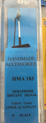 HMA 183 N SCALE SEMAPHORE DISTANT SIGNAL yellow/green UPPER QUADRANT