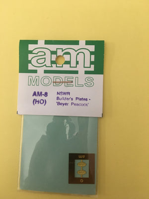"AM Models : AM-8 Locomotive Builders Plates-""Beyer Peacock"" NSWGR Etch Brass"