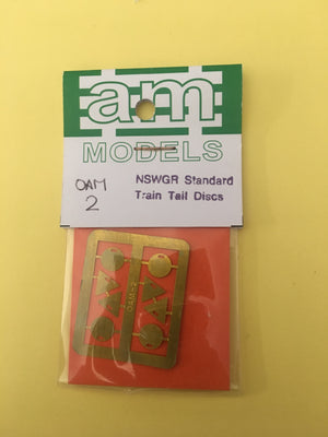 AM Models : OAM 2 NSWGR Standard Train Tail Discs O Scale model detailing parts