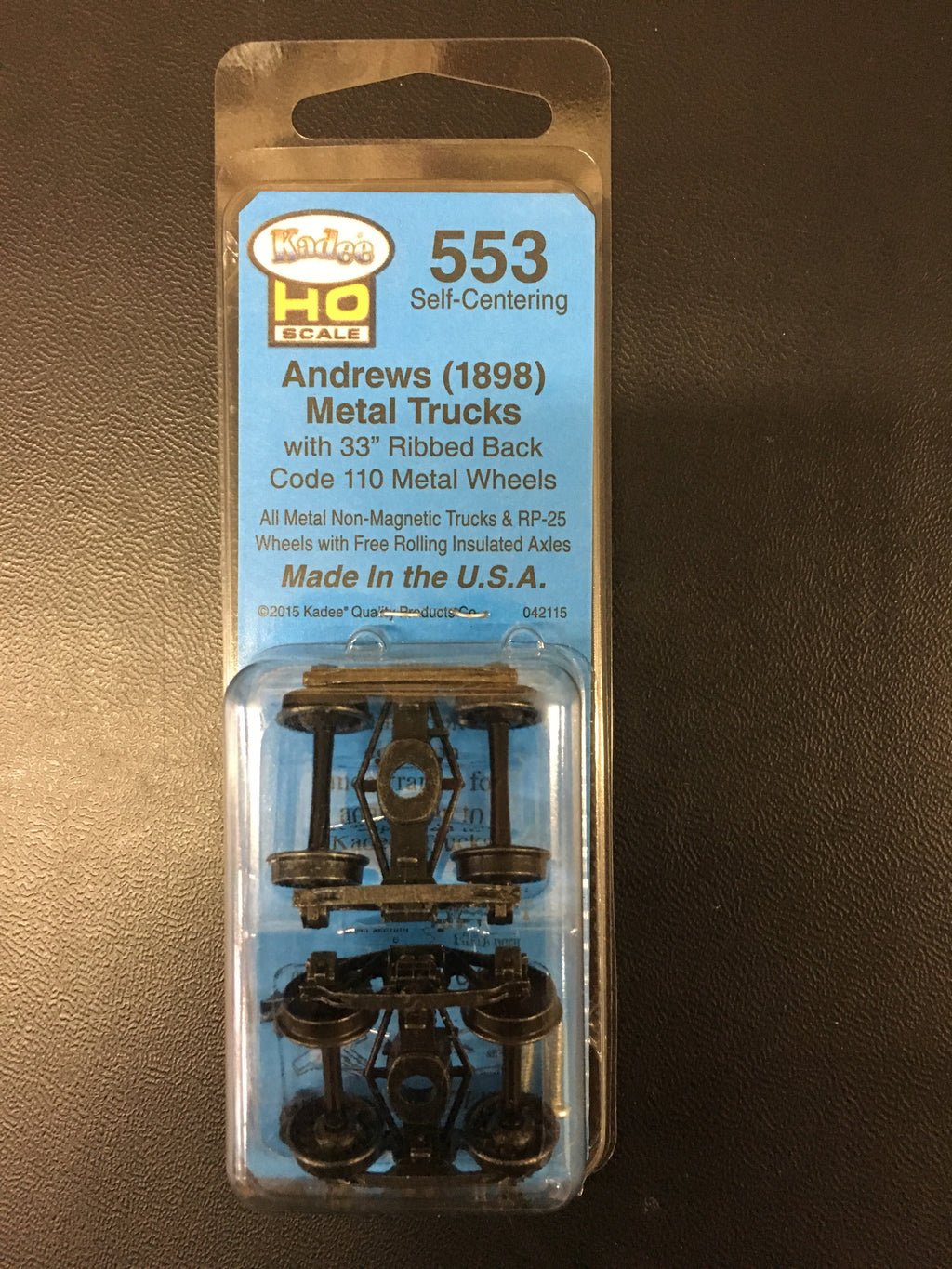 "#553 Andrews (1898) Self Centering Trucks 3"" wheels KADEE"