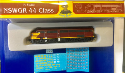 44 Class Mk1 REVERSE YELLOW, NSWGR LOCOMOTIVE GOPHER MODELS N Scale.
